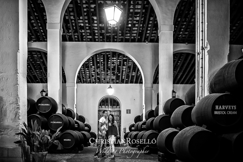 Reportaje Pre Boda en Jerez de la Frontera, Bodegas Pedro Domecq Cadiz Yolanda y Jose, Christian Roselló Fotógrafo de Bodas en Cadiz, con sede en Valencia